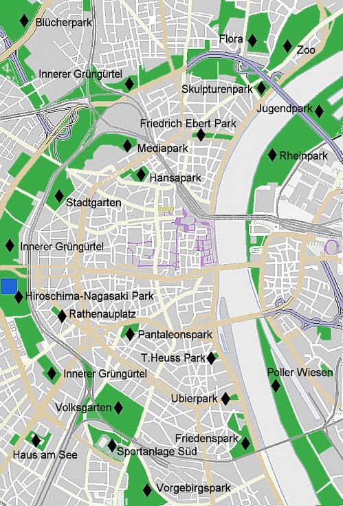 Überblick zum Inneren Grüngürtel Köln