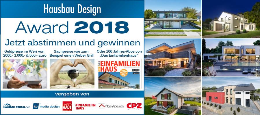 Hausbau Design Award 2018 - Jetzt abstimmen und gewinnen