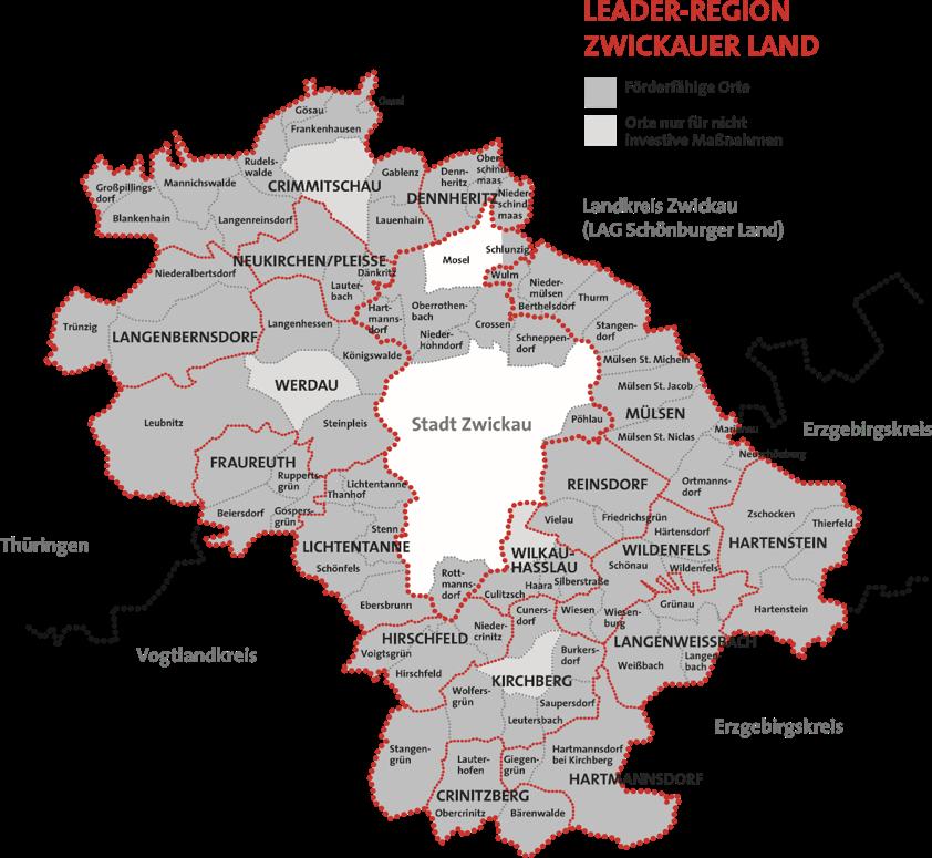 Unsere LEADER-Region Zwickauer Land