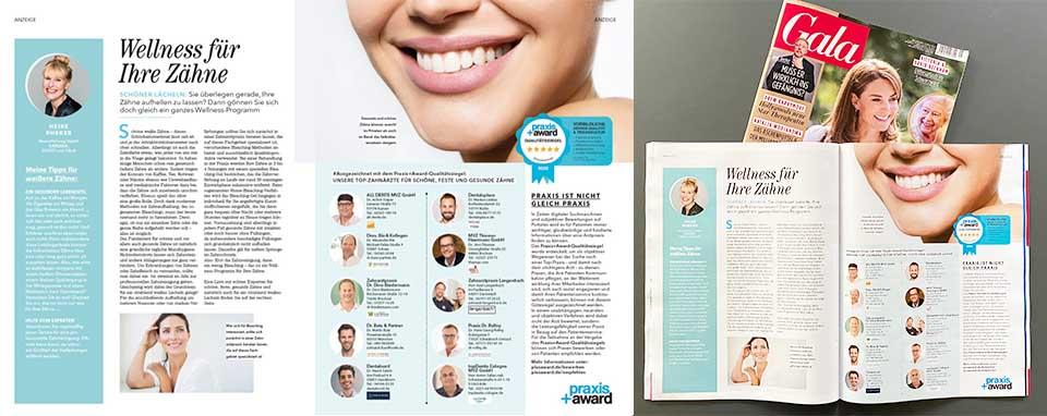 2021: GALA Ausgabe #10 - SIE SIND DABEI! (Angstbehandlung: Spezialisierte Zahnärzte / Sanfte Methoden )